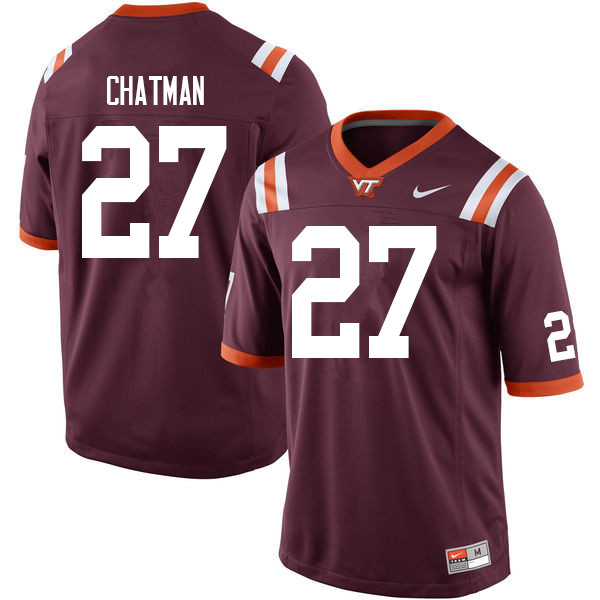 Men #27 Armani Chatman Virginia Tech Hokies College Football Jerseys Sale-Maroon