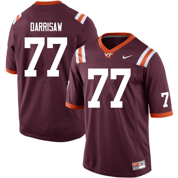 Men #77 Christian Darrisaw Virginia Tech Hokies College Football Jerseys Sale-Maroon