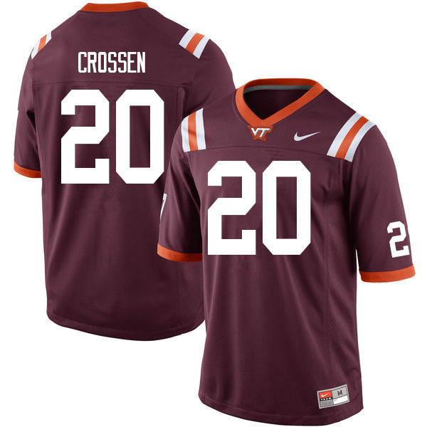 Men #20 D.J. Crossen Virginia Tech Hokies College Football Jerseys Sale-Maroon