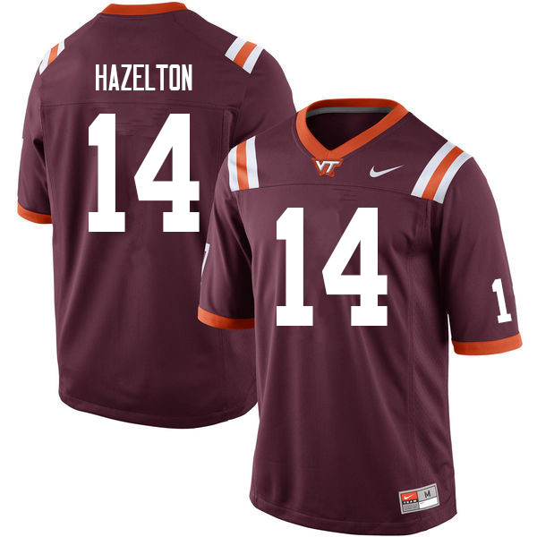 Men #14 Damon Hazelton Virginia Tech Hokies College Football Jerseys Sale-Maroon