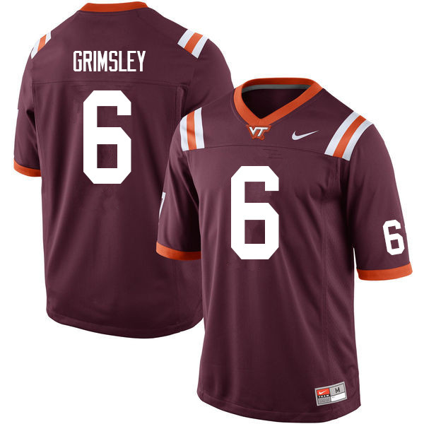 Men #6 Hezekiah Grimsley Virginia Tech Hokies College Football Jerseys Sale-Maroon