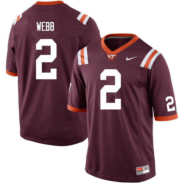 Men #2 Jeremy Webb Virginia Tech Hokies College Football Jerseys Sale-Maroon