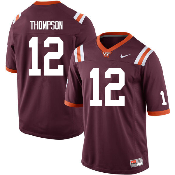 Men #12 Nadir Thompson Virginia Tech Hokies College Football Jerseys Sale-Maroon
