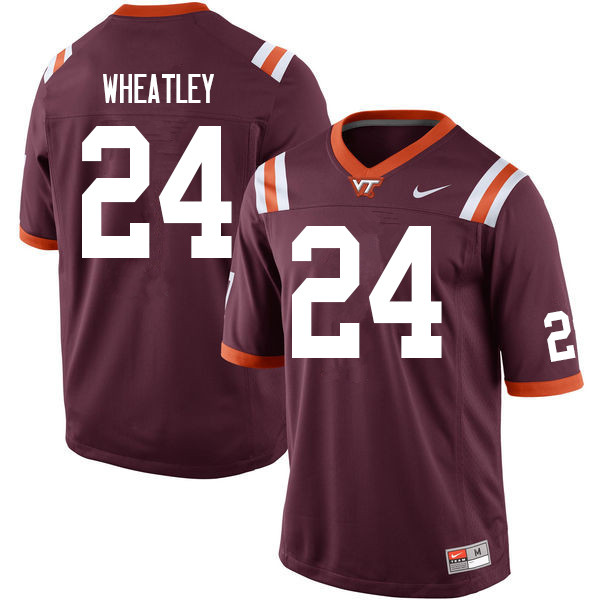 Men #24 Terius Wheatley Virginia Tech Hokies College Football Jerseys Sale-Maroon