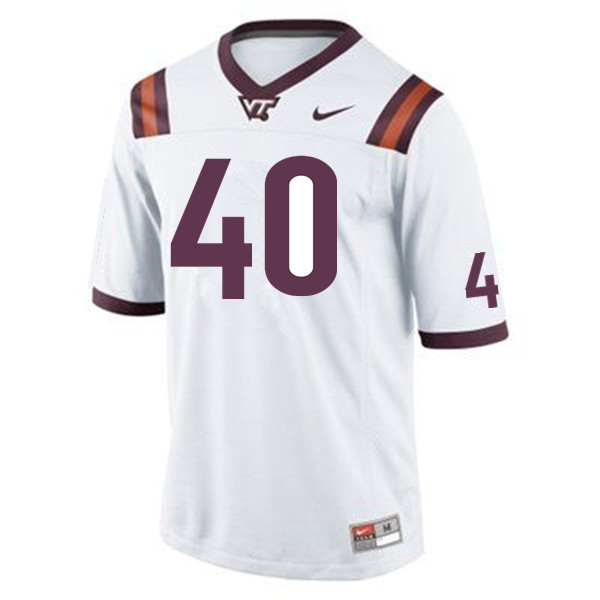 Men #40 Emmanuel Belmar Virginia Tech Hokies College Football Jerseys Sale-White