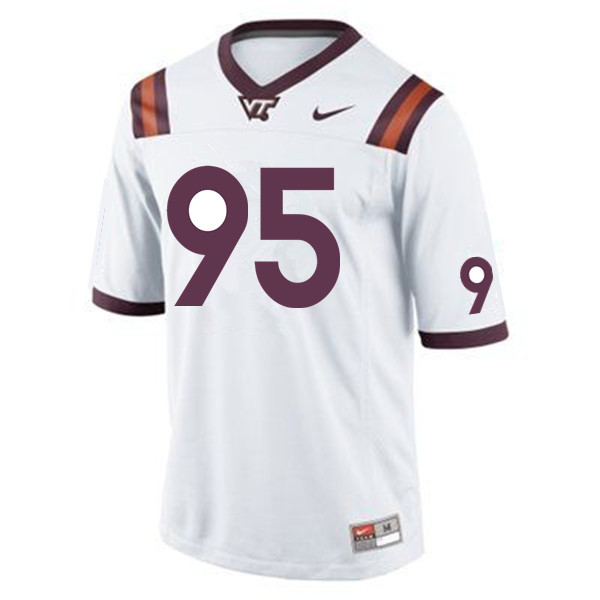 Men #95 Nigel Simmons Virginia Tech Hokies College Football Jerseys Sale-White