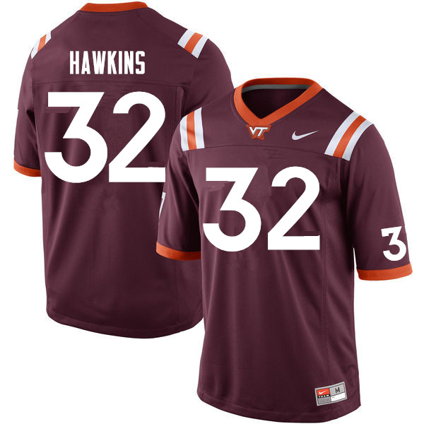 Men #32 Ny'Quee Hawkins Virginia Tech Hokies College Football Jerseys Sale-Maroon