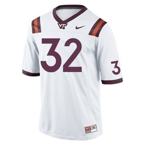 Men #32 Ny'Quee Hawkins Virginia Tech Hokies College Football Jerseys Sale-White