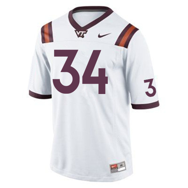 Men #34 Tink Boyd Virginia Tech Hokies College Football Jerseys Sale-White