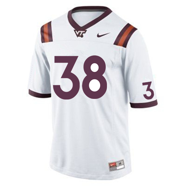 Men #38 Amare Barno Virginia Tech Hokies College Football Jerseys Sale-White