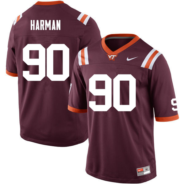 Men #90 Casey Harman Virginia Tech Hokies College Football Jerseys Sale-Maroon
