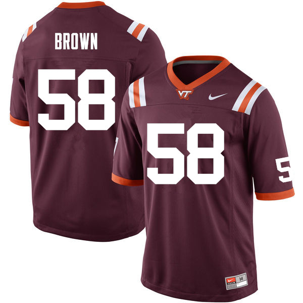 Men #58 Cornell Brown Virginia Tech Hokies College Football Jerseys Sale-Maroon
