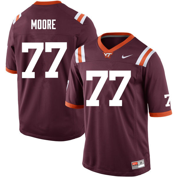 Men #77 Demetri Moore Virginia Tech Hokies College Football Jerseys Sale-Maroon