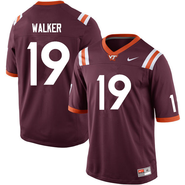 Men #19 J.R. Walker Virginia Tech Hokies College Football Jerseys Sale-Maroon
