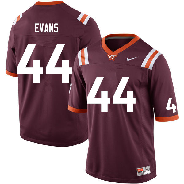 Men #44 J'Wan Evans Virginia Tech Hokies College Football Jerseys Sale-Maroon