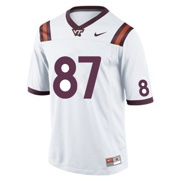Men #87 Jacoby Pinckney Virginia Tech Hokies College Football Jerseys Sale-White