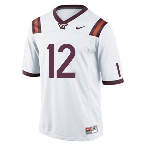Men #12 Knox Kadum Virginia Tech Hokies College Football Jerseys Sale-White
