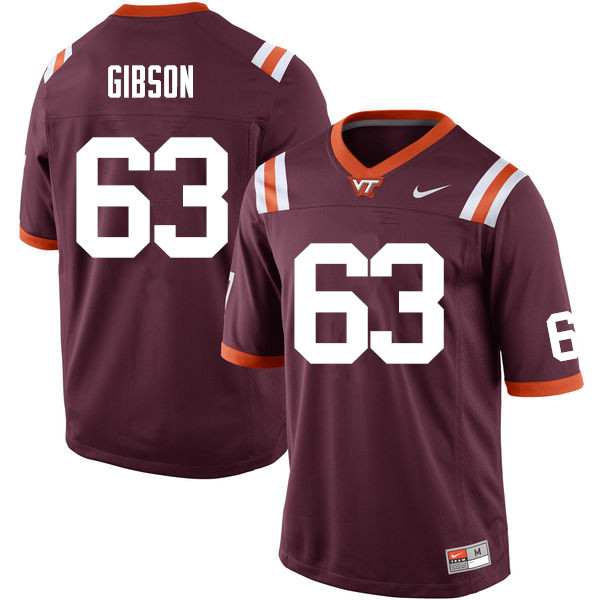 Men #63 Laurence Gibson Virginia Tech Hokies College Football Jerseys Sale-Maroon
