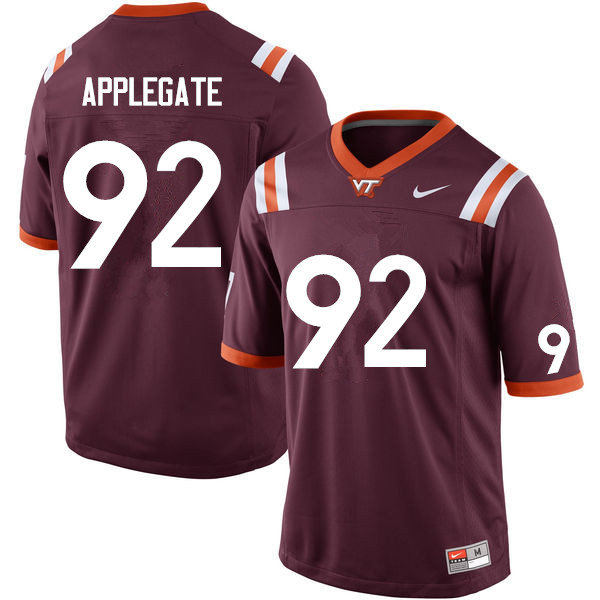 Men #92 Mark Applegate Virginia Tech Hokies College Football Jerseys Sale-Maroon