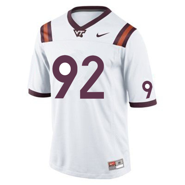 Men #92 Mark Applegate Virginia Tech Hokies College Football Jerseys Sale-White
