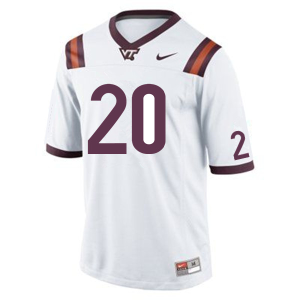 Men #20 Ny'Quee Hawkins Virginia Tech Hokies College Football Jerseys Sale-White