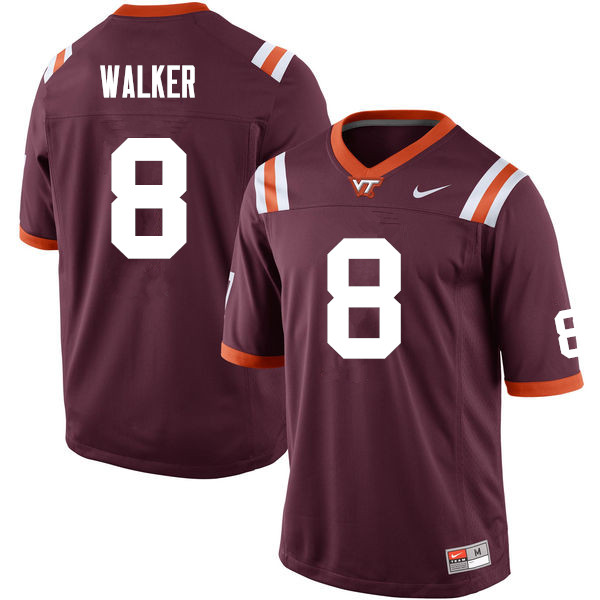 Men #8 Ricky Walker Virginia Tech Hokies College Football Jerseys Sale-Maroon