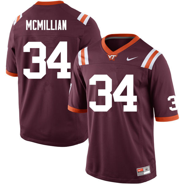 Men #34 Travon McMillian Virginia Tech Hokies College Football Jerseys Sale-Maroon