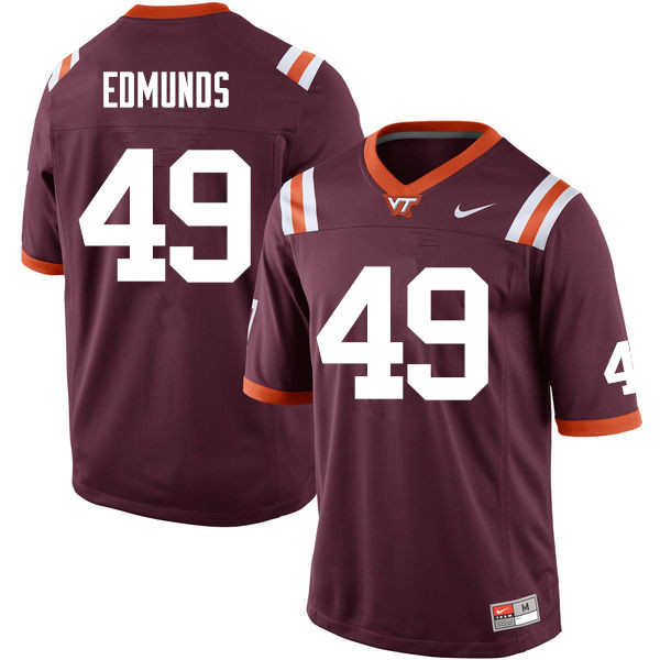 Men #49 Tremaine Edmunds Virginia Tech Hokies College Football Jerseys Sale-Maroon