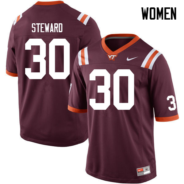 Women #30 Caleb Steward Virginia Tech Hokies College Football Jerseys Sale-Maroon