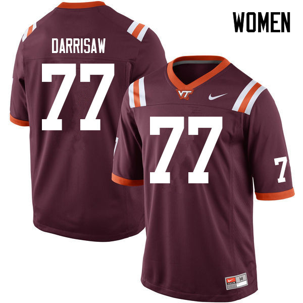 Women #77 Christian Darrisaw Virginia Tech Hokies College Football Jerseys Sale-Maroon