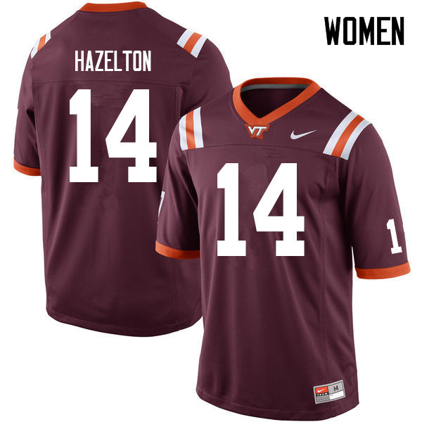 Women #14 Damon Hazelton Virginia Tech Hokies College Football Jerseys Sale-Maroon