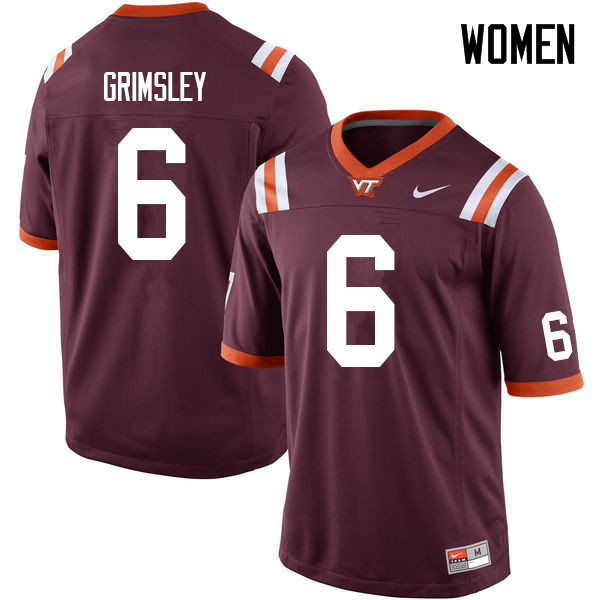 Women #6 Hezekiah Grimsley Virginia Tech Hokies College Football Jerseys Sale-Maroon