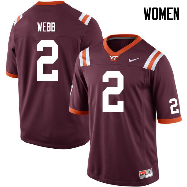 Women #2 Jeremy Webb Virginia Tech Hokies College Football Jerseys Sale-Maroon