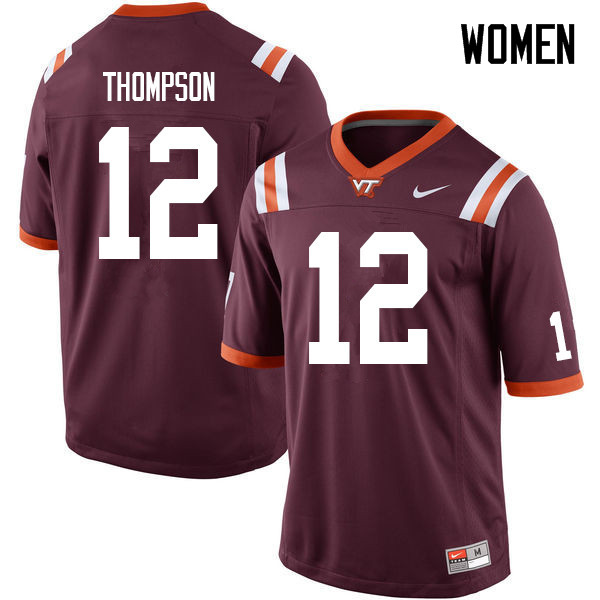 Women #12 Nadir Thompson Virginia Tech Hokies College Football Jerseys Sale-Maroon