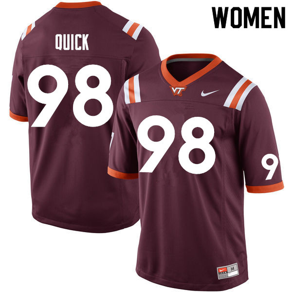 Women #98 Caleb Quick Virginia Tech Hokies College Football Jerseys Sale-Maroon