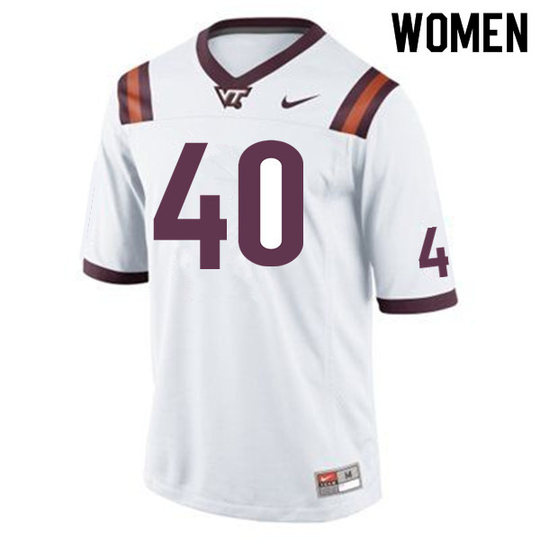 Women #40 Emmanuel Belmar Virginia Tech Hokies College Football Jerseys Sale-White