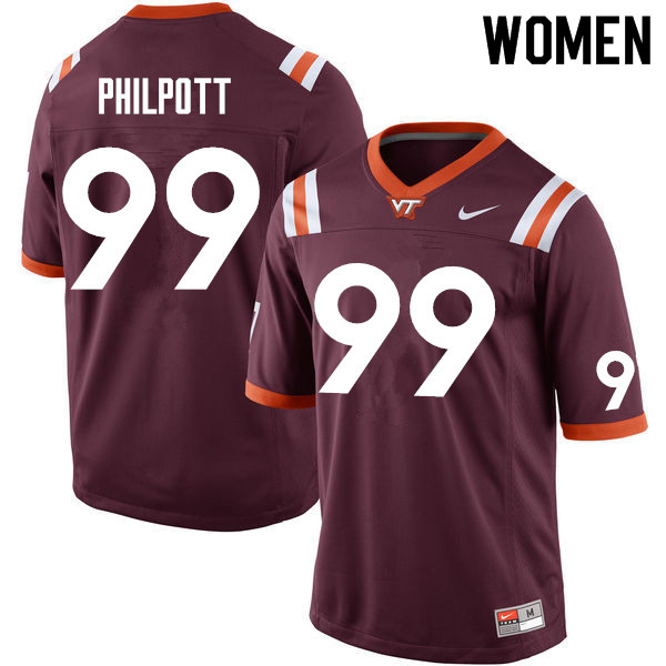 Women #99 Maxx Philpott Virginia Tech Hokies College Football Jerseys Sale-Maroon
