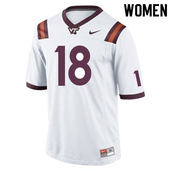 Women #18 Raymon Minor Virginia Tech Hokies College Football Jerseys Sale-Maroon
