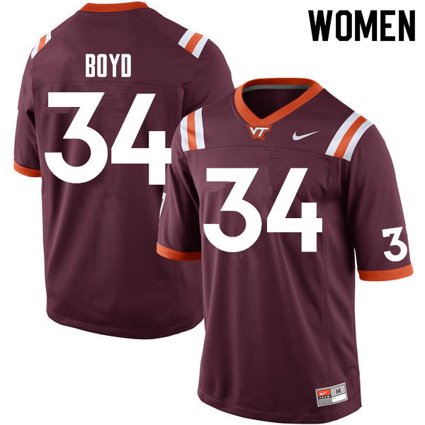 Women #34 Tink Boyd Virginia Tech Hokies College Football Jerseys Sale-Maroon
