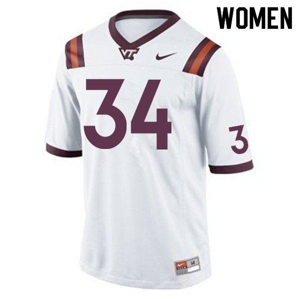 Women #34 Tink Boyd Virginia Tech Hokies College Football Jerseys Sale-White