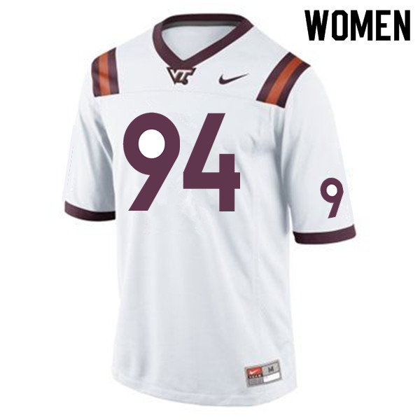 Women #94 Trevon Hill Virginia Tech Hokies College Football Jerseys Sale-Maroon