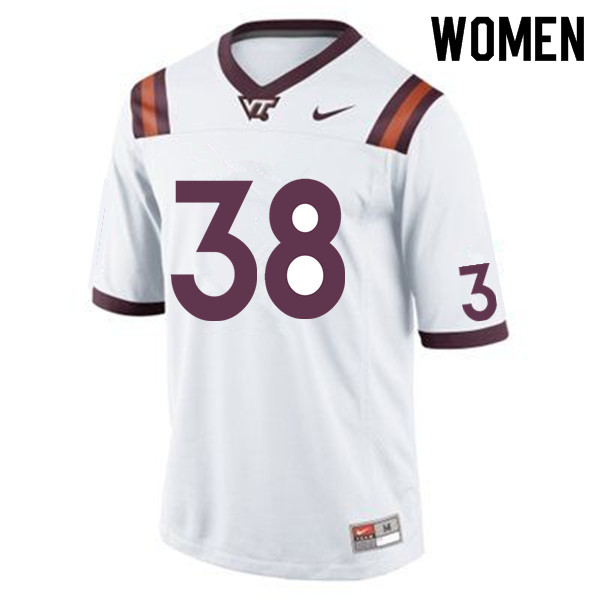 Women #38 Amare Barno Virginia Tech Hokies College Football Jerseys Sale-White