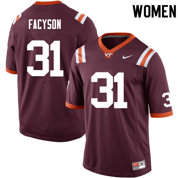 Women #31 Brandon Facyson Virginia Tech Hokies College Football Jerseys Sale-Maroon