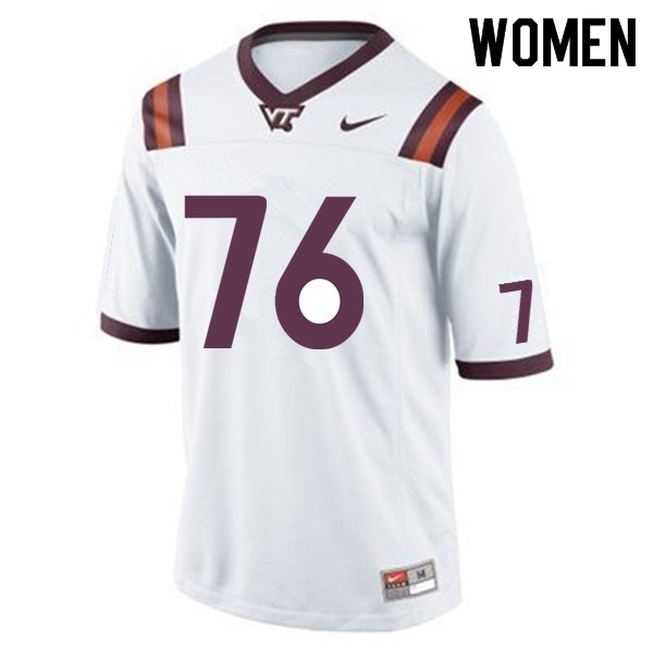 Women #76 Brock Hoffman Virginia Tech Hokies College Football Jerseys Sale-White