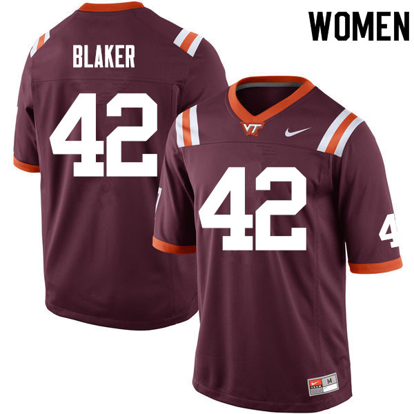 Women #42 Cole Blaker Virginia Tech Hokies College Football Jerseys Sale-Maroon