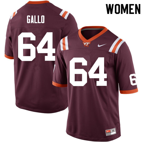 Women #64 Eric Gallo Virginia Tech Hokies College Football Jerseys Sale-Maroon
