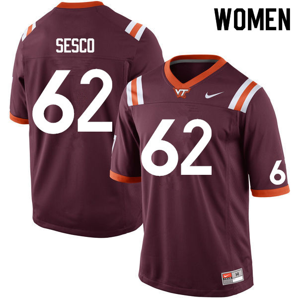 Women #62 Gabe Sesco Virginia Tech Hokies College Football Jerseys Sale-Maroon