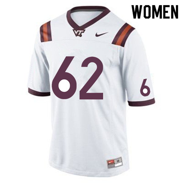Women #62 Gabe Sesco Virginia Tech Hokies College Football Jerseys Sale-White