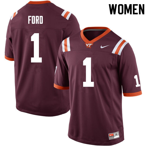 Women #1 Isaiah Ford Virginia Tech Hokies College Football Jerseys Sale-Maroon
