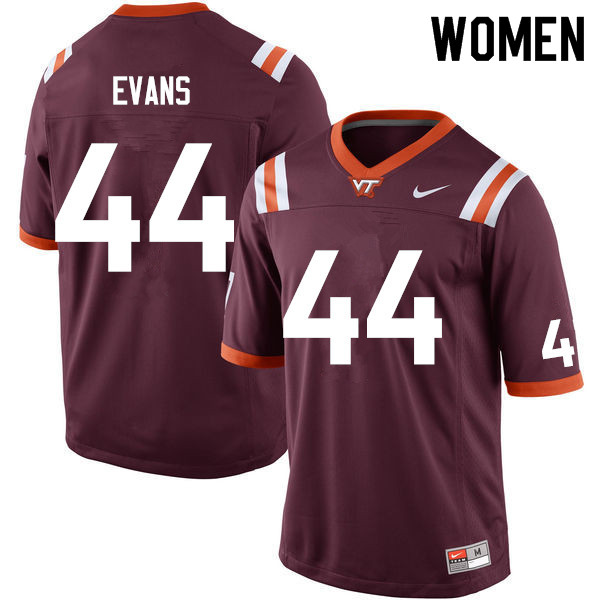 Women #44 J'Wan Evans Virginia Tech Hokies College Football Jerseys Sale-Maroon